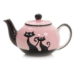 """Hues N Brews """"Cats with Attitude"""" Pink Teapot Pottery Painting, Ceramic Painting, Pink Teapot, Teapots And Cups, Tea Art, Tea Service, Chocolate Pots, Tea Time, Biscuit"""