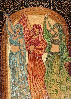 Sisterhood of the Silk Road Bellydance Goddess ACEO Print. $3.00, via Etsy.
