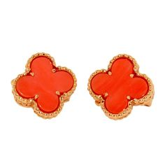 1stdibs | VAN CLEEF & ARPELS Gold Coral Alhambra Earrings