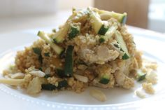 Couscous cucumber chicken and garlic