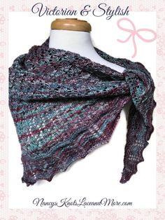 Merino Wool Triangle Shawl in Turquoise Purple Blend Ladies Wrap Malabrigo Rios Yarn @JazzitupwithDes