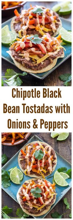 Chipotle Black Bean Tostadas with Onions and Peppers: tostadas topped with spicy black beans and sweet sauteed onions and peppers. Mexican Food Recipes, Vegetarian Recipes, Cooking Recipes, Healthy Recipes, Vegetarian Mexican, Zoodle Recipes, Smoker Recipes, Rib Recipes, Whole30 Recipes