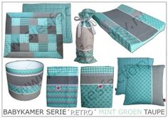 Babykamer aankleding 'Retro' in mint groen, taupe wafeldoek en linnen   Complete SERIES!   Sies Factory