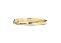 Thin Hammer Ring - Solid 14K gold.  Uneven edges.  1.40-1.80mm wide. Grace Lee Designs