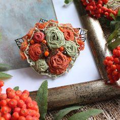 Купить Текстильная бохо-брошь Бабье лето - Елена Кожевникова, текстильная брошь