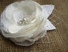 Rustic Hairpiece - Ivory White Wedding Hair Flower - Rustic Bridal Accessories - Burlap Lace Hairpiece - Alligator Clip Flower - Bridal Hair on Etsy, $25.00
