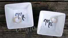 His and Hers Mr and Mrs Ring Dish Set by OhMyWordDesigns on Etsy, $20.00