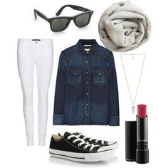 """Black Converse with denim shirt"" by theblackblondie on Polyvore"
