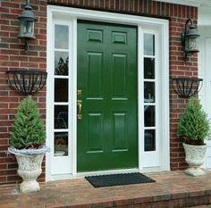 front door color for orange brick house Unique Front Doors, Best Front Doors, Green Front Doors, Modern Front Door, Front Door Entrance, House Front Door, The Doors, House Doors, Facade House