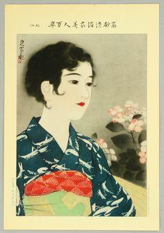 "Beauty and Hydrangea - Ad for ""Takasago-zome"" dyeing process. LITHOGRAPH by Shinsui Ito (1898-1972) Series, ""Takasago-zome Yoku-i Bijin Hyaku Shi"" One Hundred Beauties in Takasago-zome Light Kimono"