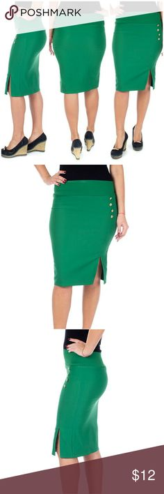 """Women Pencil Side Button Skirt, d4024, Green Knee length stretch Forever Young women professional pencil skirt with a classic side slit and button accents is perfect for office wear. Comfortable,  elastic, not lined pull-on. Can be worn on or below waist. Skirt length approx. 23.5"""". A true statement in ladies fashion! Waist: small 26"""", medium 28"""", large 30"""", XL 32"""", XXXL 36"""". Forever Young  Skirts"""