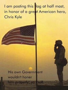 "Chris Kyle #patriot #honor    Thank you.  I'm tired of Movie Stars/ Rock stars and Sports being the ""heros"".  The real heros are the ones that fight for their country..even when that country lets them down.  God Bless our troops."
