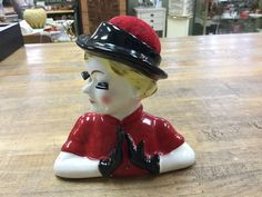 Vintage Figural Pin Cushion beautiful lady headvase in red Rare  | eBay
