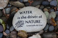 """Engraved Stone: """"Water is the driver of nature"""""""