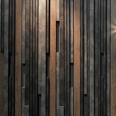 Metal and wood textures combined – paint texture inspiration – meshing of classic western materials (wood) with industrial aesthetic Metal Wall Panel, Wooden Wall Panels, Metal Panels, Wooden Wall Art, Wooden Walls, Wood Facade, Wood Cladding, Striped Walls, Into The Woods