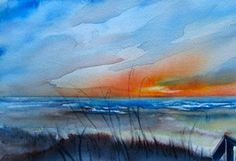 watercolor sunset ocean - Google Search