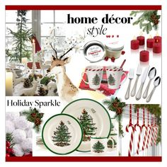 """""""Deck The Halls *  For Your Holiday Party"""" by calamity-jane-always ❤ liked on Polyvore featuring interior, interiors, interior design, home, home decor, interior decorating, Spode, Towle, homedecor and HolidayParty"""
