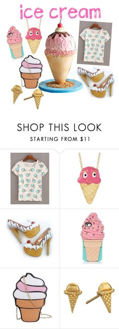 """ice cream treats"" by celebritygirls ❤ liked on Polyvore featuring interior, interiors, interior design, home, home decor, interior decorating, Gab+Cos Designs, Kate Spade, Gorjana and icecreamtreats"