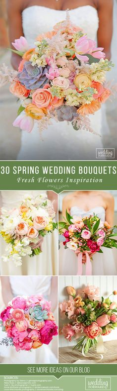 30 Fresh Spring Wedding Bouquets ❤ See more: http://www.weddingforward.com/spring-wedding-bouquets/ #weddings #bouquets #weddingbouquets #freshspringweddingbouquets