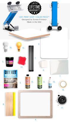 "1. DIY Print Shop® 1-Color Screen Printing Press™ • 14"" x 14"" platen • powder-coated • 23""wide screens • light-weight aluminum and steel • gas shock • lifetime warranty. 2. NEW! Platen bracket • easy"