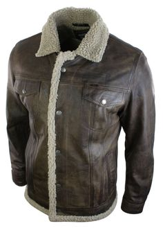 Mens Retro Vintage Fleece Fur Lined Warm Brown Real Leather Aviator Flyin Jacket in Clothes, Shoes & Accessories | eBay