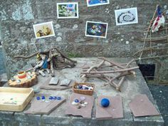 Inspire your children to create patterns in the environment using collections of natural objects