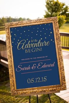 Navy & Gold Wedding Sign Decor / http://www.deerpearlflowers.com/navy-blue-and-gold-wedding-color-ideas/2/