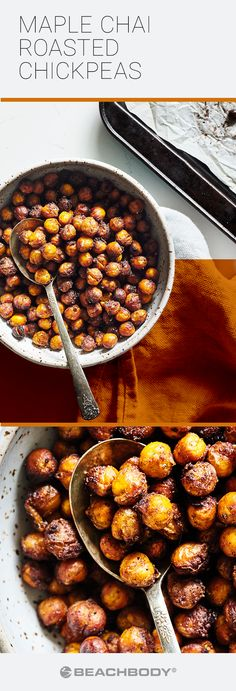 Wickedly versatile, and loaded with protein and fiber, chickpeas are destined for so much more than just hummus. This Maple Chai Roasted Chickpea recipe will convince you that they can also be an addictive, crunchy snack. // recipe // healthy recipe // healthy eating // snacks // Beachbody // BeachbodyBlog.com