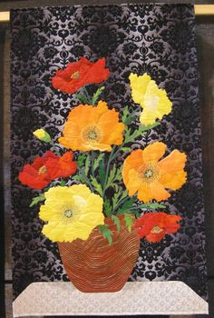Still Life- Poppies by Beth Miller (Australia).  2014 Festival of Quilts (UK).  Photo by Queenie's Needlework