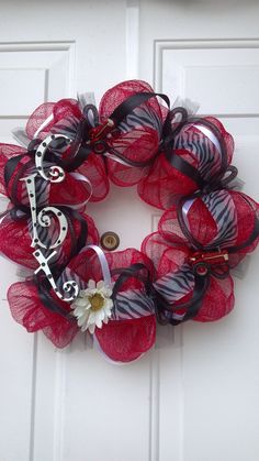 Red, Black, and White Deco Mesh with tractors Wreath by Tonia