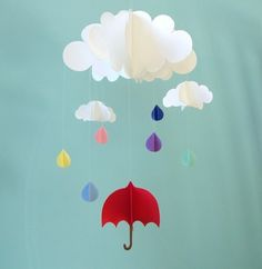Rain Baby Mobile, Umbrella Baby Mobile, Raindrops Hanging Baby Mobile, 3D Paper…