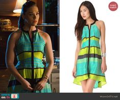 2dfd357460 AnnaBeth s blue and green striped zip-front dress on Hart of Dixie