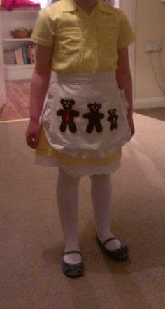 Caitlin's 2013 World Book Day Costume - Goldilocks and the Three Bears - DIY - Yellow - Bears