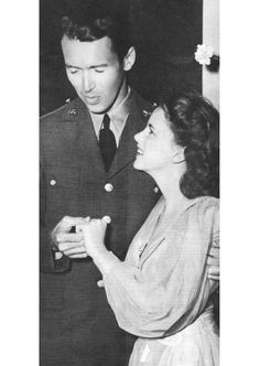 Judy Garland shows off her engagement ring to Jimmy Stewart, 1941
