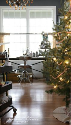 Christmas in the art studio. Would love a craft room like this. 2014 Holiday House Walk   Jeanne Oliver