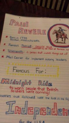 Paul Revere Anchor Chart 3rd Grade Social Studies