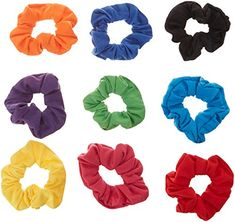 8Pack Shiny Metallic Hair Scrunchies Ponytail Holder Elastic Hair Ties Bands a6