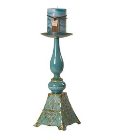 Take a look at this Aqua Pedestal Candle Holder by Color Trends: Bold Blue on #zulily today!