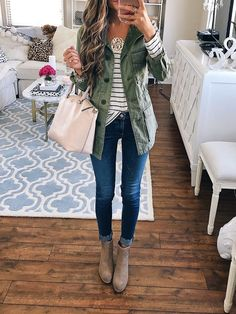 cargo jacket, striped top, AG jeans, booties. all from the Nordstrom Anniversary Sale