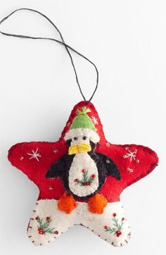 New World Arts 'Puffy Star with Penguin' Ornament available at #Nordstrom