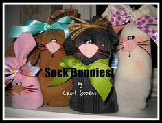 easter:  sock bunnies:The Scrap Shoppe