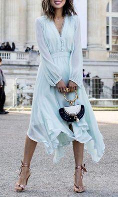 1fcc6a65a3385 Shop Light Blue Chiffon V-neck Long Sleeve Chic Women Midi Dress ...