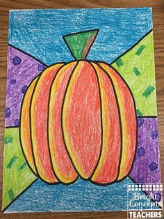 FREE pumpkin directed drawing lesson.
