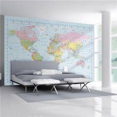 1Wall - World Map Giant Wallpaper Mural   Peter's of Kensington