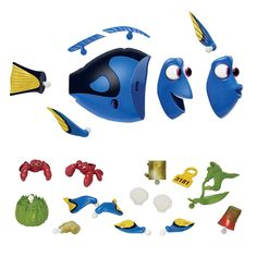 Change Dory and her hermit crab friends to the many looks she has in Finding Dory.<ul>Finding Dory Changing Looks Dory features:<li></li><li>Change Dory's fins and face for different expressions</li><li>Mix and match coral, sea shells, her tag and kelp for even more Dory looks</li><li>Comes with 2 hermit crabs that you can change their 'shell' into helmet, cup, mug, kelp and more just like they do in the movie</li><li>All pieces fit across the characters for even more…