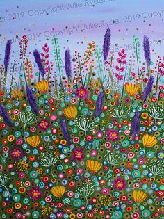 Signed on Back Pallet Knife Inks Acrylic Paint Sequins and Beads Sea Glass Hand Painted Field of Flowers-Original Mixed Media Painting