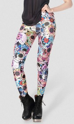 Day of the Dead Leggings women digital printed pants free shipping - Skull Clothing and Accessories - 1