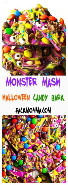 Monster Mash Halloween Candy Bark - this festive and fun no-bake bark is the perfect sweet treat to scare up some new friends this Halloween : Pack Momma Halloween Snacks, Halloween Bark, Halloween Baking, Halloween Goodies, Halloween Tattoo, Holiday Baking, Holiday Costumes, Halloween Recipe, Funny Halloween