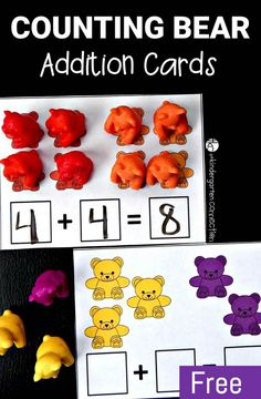Counting Bear Addition Cards - The Kindergarten Connection Such a fun addition activity! Work on beginning addition with these free printable counting bear addition cards. They make a great kindergarten math center. Kindergarten Centers, Preschool Math, Math Classroom, Teaching Math, Kindergarten Addition, Kindergarten Counting, Teaching Addition, Classroom Ideas, Maths Eyfs