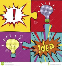 Idea Puzzles In Pop Art Style.